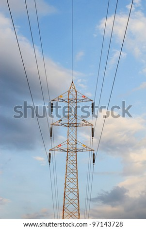 electric tower , blue sky and clouds background