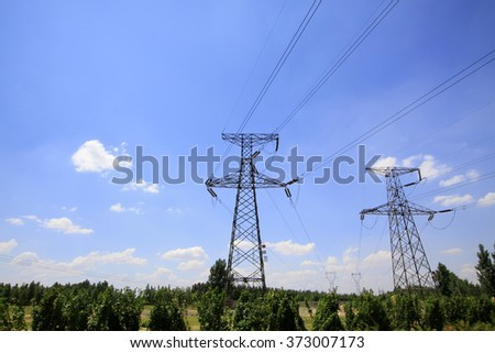 electric tower in the sky background, steel power transmission facilities  #373007173