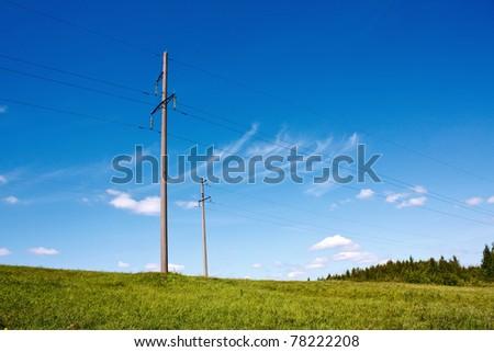 electric transmission line - stock photo