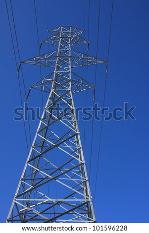 electric transmission tower against the clear blue sky