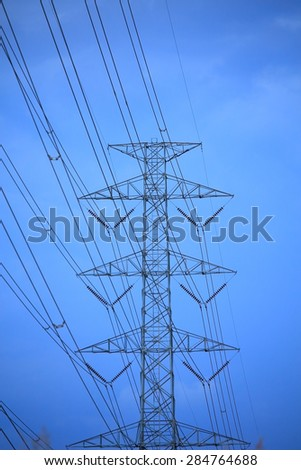 Electric Transmission Tower on blue sky