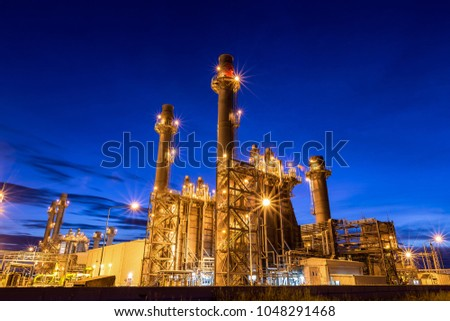 Electric turbine generator  power plant with twilight is support all factory in industrial Estate  #1048291468