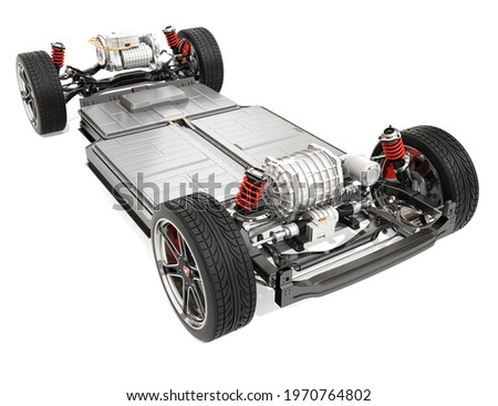 Electric Vehicle's chassis with dual motors and battery system isolated on white background. 3D rendering image.