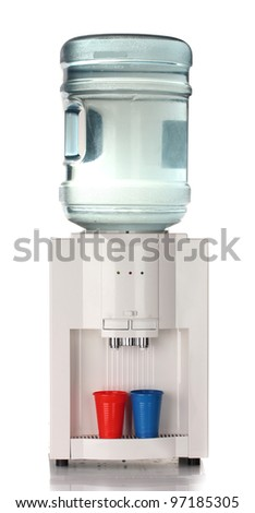 Electric water cooler isolated on white - stock photo