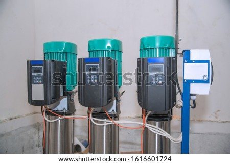 Electric water pumps in the pumping station. Industrial