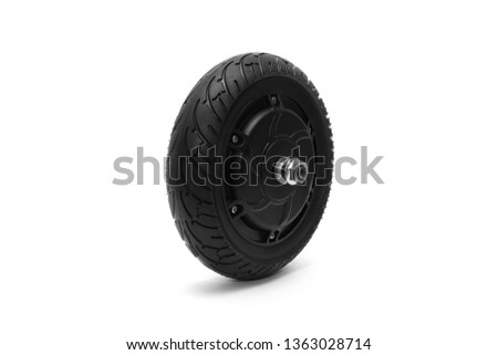 Electric wheel on a white background. Wheel from a scooter. Wheel on a white background. #1363028714