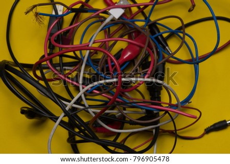 electric wire. wire for voltage. isolated on the yellow background. #796905478