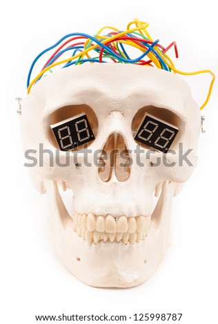 electric wires in human scull head  isolated on white