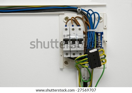 House Electrical Wiring on Electric Wiring And Fusebox In A House Stock Photo 27569707