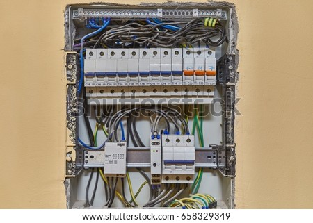 Electric wiring and fusebox in a house