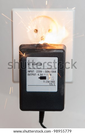 Electrical adapter with failure causing a fire