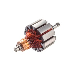 Electrical armature assembly isolated on white background. dc motor, starter anchor motor from car portable air compressor.