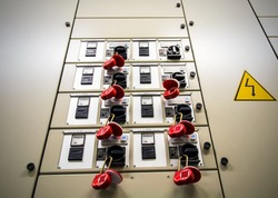 Electrical breaker box locked out for service, inspection, or installation, Lockout tagout