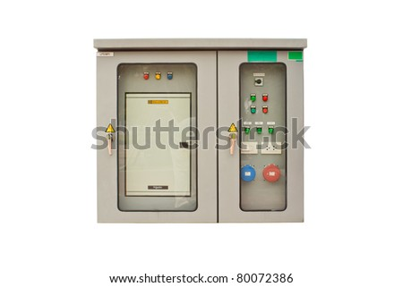 Electrical cabinet with a white background