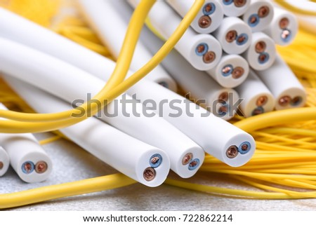 Electrical cable closeup, energy and technology equipment #722862214