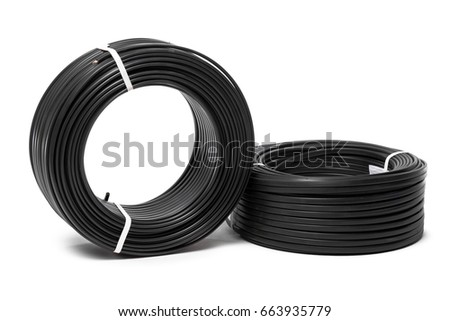 Electrical cable, energy and technology equipment isolated on white #663935779