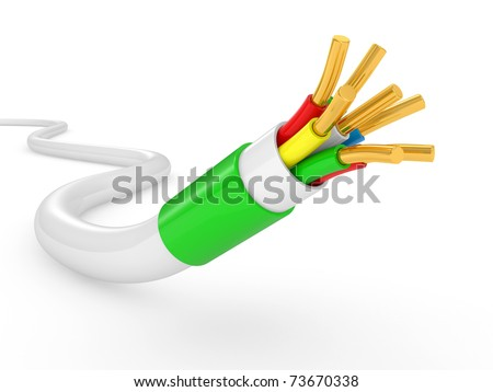 electrical cable on white background. Isolated 3d model