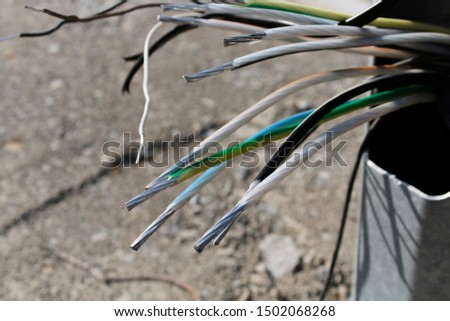 Electrical cables. Aluminium cables. Background and texture.  #1502068268