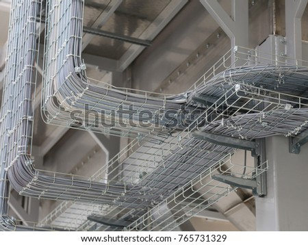 electrical cables and many cables for connecting a computer network to a modern factory #765731329