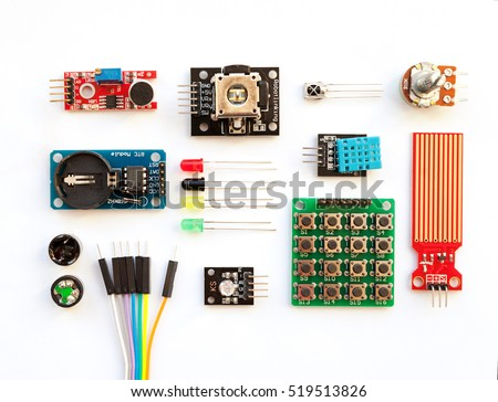 Electrical components kit for building digital devices isolated on white. Robotics parts and elements. Electronics module set