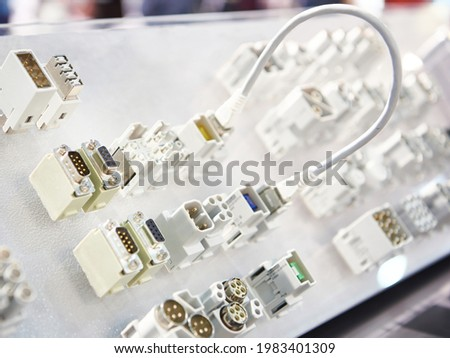 Electrical connectors at the exhibition Stock photo ©