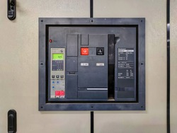 Electrical control circuit breaker in control room  In industrial plants. Electrical disconnector in power system control station