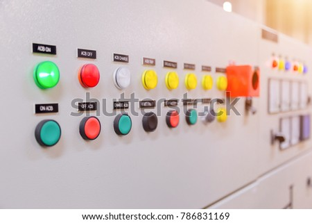 Electrical control panel in factory / Control panel #786831169