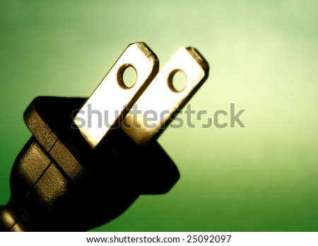 electrical cord against green - stock photo