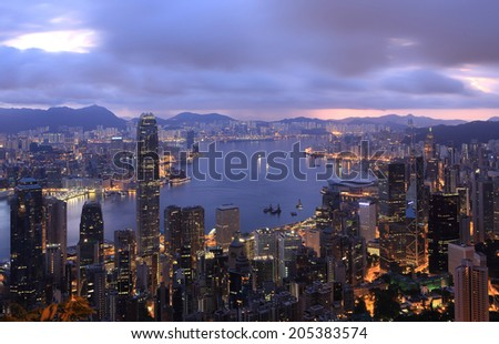 Electrical energy use in the night , electrical energy in building, Hong kong at night