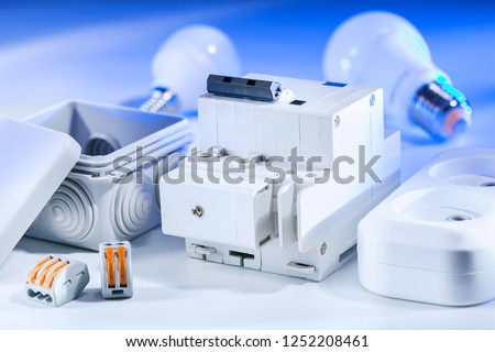 Electrical equipment, for repair of electric systems. Electrical background. Foto stock ©