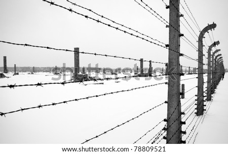Electrical fence around Auschwitz concentration camp in Poland