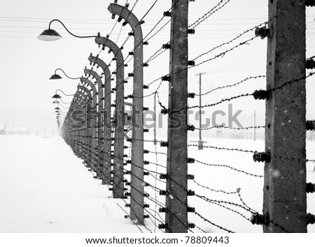 Electrical fence around Auschwitz concentration concentration camp