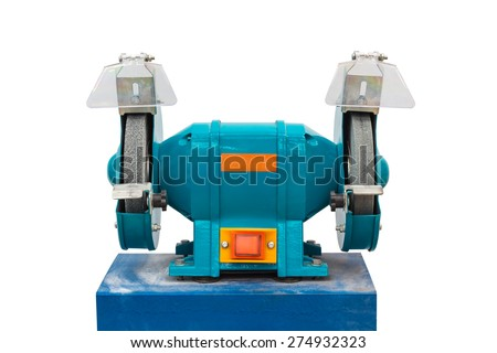 Electrical grinding machine (bench grinder), isolated on white background with clipping path