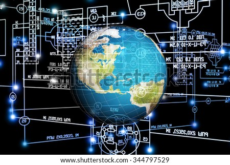 Electrical industrial engineering scheme.Globe planet.Engineering designing technology