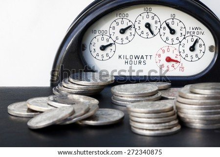 Electrical Meter with Money.A simple and universal way of showing the cost of electricity.