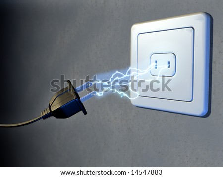 Electrical plug and outlet generating electricity sparks. Digital illustration.