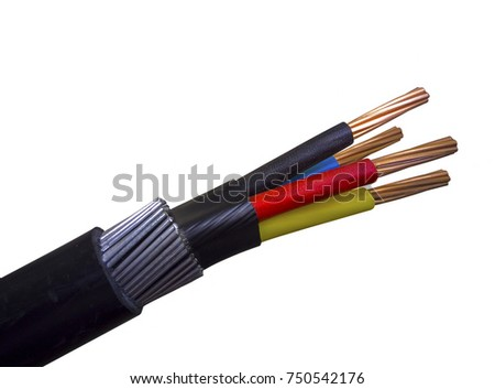 electrical power armored cable on insulated background