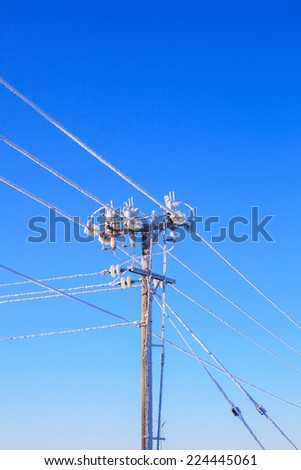 Electrical power pole with frost #224445061