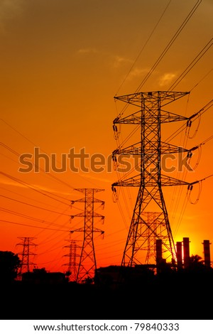 electrical power station on sunset