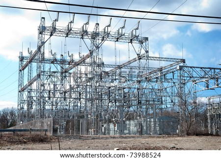 Electrical Power Substation - stock photo