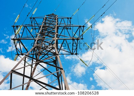 Electrical powerlines against a background of the sky