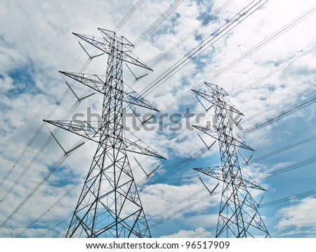 electrical powerlines with blue sky and white clouds
