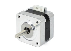 Electrical stepping / stepper motor isolated on white background with clipping path. NEMA standard flange motor for driving axes of CNC machines.