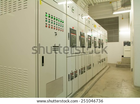 Electrical switchgear -- Industrial electrical switch panel  Stockfoto ©
