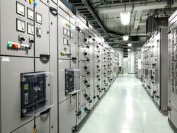 Electrical switchgear, Industrial electrical switch panel at substation in industrial zone at power plant with closed up high resolution 50M pixel concept which customer can use for large file.