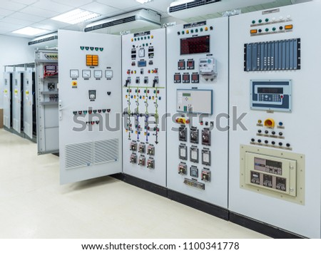 Electrical switchgear,Industrial electrical switch panel at substation of power plant