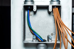 Electrical system in conduit wires on box, tools craftsman for electrician maintenance, handyman,