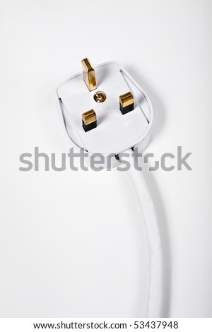 Electrical three pin plug head on white background