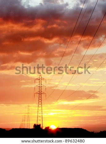 electrical transmission tower on sunset .Energy concept