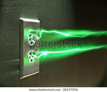 Electrical wall socket with green energy or electricity